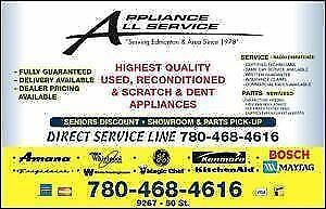 USED APPLIANCE SALES and SERVICE from a dependable dealer since 1981 .... at the lowest possible price  @ 9267-50 Street