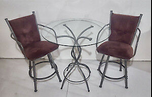 3 Piece Dinette set - Glass Table & 2 matching swivel chairs