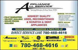 "*  Used Appliance  ""SALE""  FRIDGE STOVE WASHER DRYER at  9267-50 ST Edmonton;"