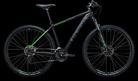 "Cube Aim Pro Hardtail Mountain Bike - 21"" Frame 29"" wheel - as new - Black / Green"