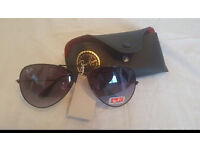 Ray bans - UV Protective aviator style ray an sunglasses with leather pouch case £20