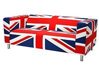 Ikea Klippan sofa, Union Jack cover, used in very good condition!