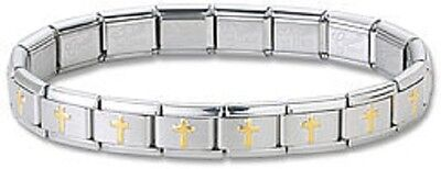 Wholesale Lot 24 Italian Charm Bracelets Stainless Steel Gold Plated Cross Links
