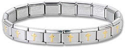 24 Gold Cross Italian Charm Bracelets 9 mm Stainless Steel Links Bulk Wholesale