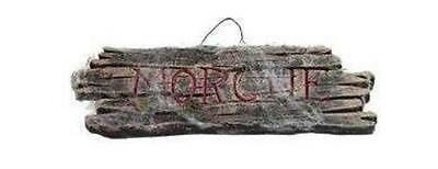 Wood Effect Morgue Sign with Cobwebs Halloween Decor Prop - Morgue Sign