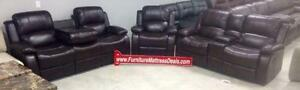 3Pce Brown reclining console love seat, drop table sofa,recliner