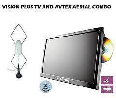VISION PLUS 19 inch 12v Portable Digital LED HD TV, DVD For Caravan or Motorhome HARDLEY USED