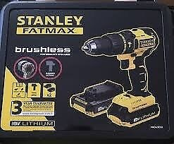 New Stanley FATMAX Compact Lightweight 18V Hammer Drill 2 Batteries, charger in hard case. Dewalt