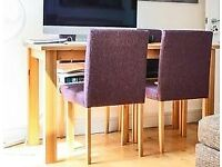 Madison Oak Effect Dining Table and 4 Purple Chairs