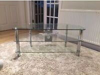 television stand unit table glass tv