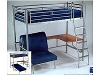 Jay-Be studio 3 high sleeper bed frame + desk + futon. Excellent condition. Mattresses not included.