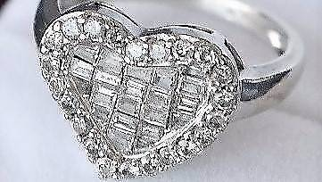 $3700CERT+REAL SI1 1.10CT RARE DIAMONDS HEART RING 14K GOLD STAMP