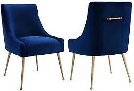 Anthropolgie navy velvet chair with gold hardware