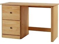 Preston 2 Drawer Solid Pine Office Desk - Light. ***BRAND NEW**