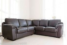 Amy Real Leather Corner Sofa - Brown