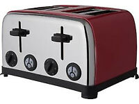 ColourMatch Stainless Steel 4 Slice Wide Slot Toaster Poppy Red, PRE-OWNED !!!