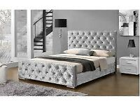 silver velvet double bed with matress and matching otterman only week old