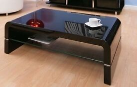 DESIGNER BLACK HIGH GLOSS CURVED RECTANGULAR COFFEE TABLE GLASS SHELF MINT