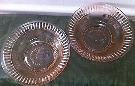 Pair of Vintage Art Deco Pink Glass serving bowls
