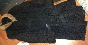 Ladies persian lamb coat with fur collar and cuffs for sale