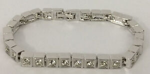 Elegant Detailed SS Rhodium CZ Tennis Bracelet 7.5""