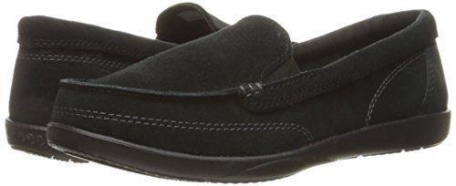 Crocs Walu II Suede Loafer Womens US 10 BLACK Boat Shoes W10 NEW