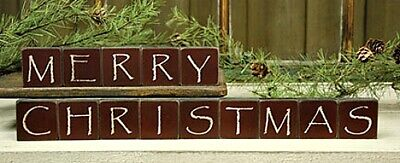 New Primitive Rustic Country Red BURGUNDY MERRY CHRISTMAS WOOD BLOCKS Word Sign -