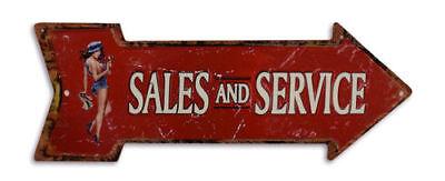 Blechschild Pfeil Sales and & Service 50cm RETRO Rechts Richtungsschild