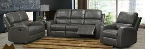 New 3PC Reclining Sofa Set in a Grey Gel Leather $2250 Taxes Included