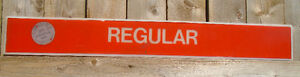 "VINTAGE 1970's GULF GASOLINE ""REGULAR"" PLASTIC GAS PUMP SIGN"