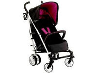 unused display model HAUCK SPIRIT BLACK/ PINK BERRY BUGGY STROLLER PRAM PUSHCHAIR FROM BIRTH - 3 .