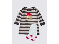 Brand New Marks &Spencer 2 Piece Knitted House Dress with Tights size 3-6 months