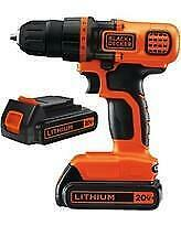 Black + Decker 20V Lithium ion Drill/Driver Model # BDCDD120C-2 Only $150.00