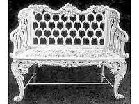 2 seater cast iron garden bench