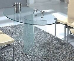 """Stylish """"Vision"""" Oval Glass Dining Table 42x160cm"""