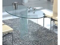 "Stylish ""Vision"" Oval Glass Dining Table 42x160cm"