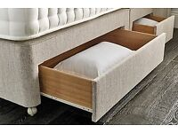King Size Bed Base Only, with 4 drawers in Beige Chenille Excellent Condition
