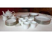 33 piece dinner and tea service - white china with gold trim - £25.00