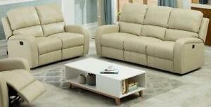 NEW 2 Piece Reclining Sofa & Love Seat in a Cream Gel Leather Regular Retail $2749
