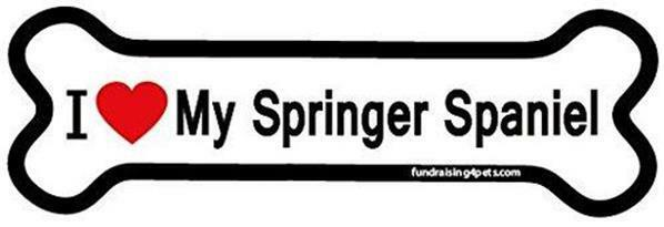 "Two I Love My Springer Spaniel Dog Bone Car Magnets Large 7"""