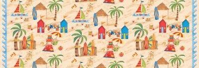 Scene Quilt Fabric - Shore Thing Quilt Fabric Beach Scene Style 9016/41 Sand Multi