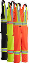 "Sizes XL Orange or Lime Green Overall Poly/cotton 4"" 3m reflective tape"