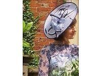 Elegant Silver Grey and Blue Formal Hat Fascinator