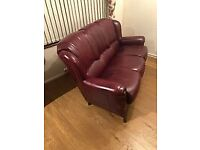 Oxblood Leather and Rosewood 3 seater Sofa