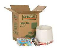 U haul. boxes. large,medium and wardrobe.