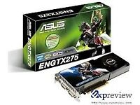 Asus GTX275 graphics card in box with manual and driver CDs