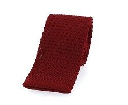 PLAIN BURGUNDY SKINNY KNITTED TIE Mod collection
