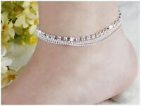 4 Layers Crystal Beads Sandal Beach Anklet Ankle Chain