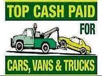 WE BUY ANY SCRAP CAR/VAN/VEHICLE - BEST PRICES PAID - COLLECTION WITHIN THE HOUR