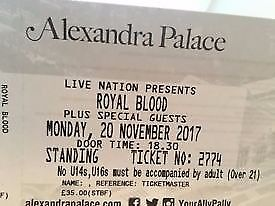 1 x Standing Ticket Royal Blood Monday 20th November Alexandra Palace